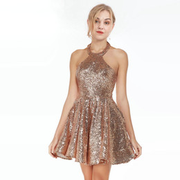 5d02e81d386a Rose Gold Sequined Fabric Halter 2019 Homecoming Prom Dresses Short A line  Open Back Yong Girls Party Evening Cocktail Dress New Arrivals