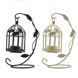 vintage standing lamps UK - Free shiping Creative Vintage Hanging Candle Holders Candelabro Bird Cages Candlesticks Decorative for Wedding Home Decoration