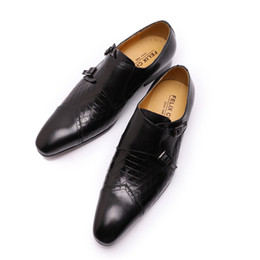 Discount brown monk strap shoes 2019 Brand New Mens Dress Shoes Monk Strap Genuine Leather With Double Buckles Black Brown Wedding Party Business Shoes Men