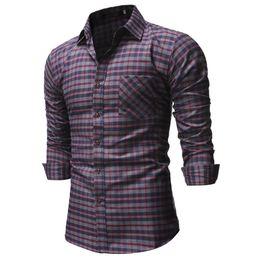 $enCountryForm.capitalKeyWord Australia - High Quality Hiphop Mens Shirts Lattice Long Sleeve Dress Shirt Turn Down Collar Chest Pockets Autumn Tee Hombre Camisas Clothes