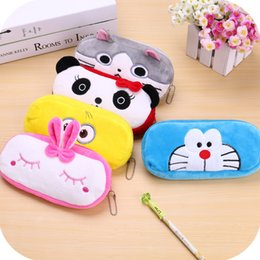 pig stationery NZ - Plush Wallet Best Selling Cartoon Animal Large Capacity Pencil Bag Student Stationery Box Storage Bag Plush Toy Coin Purse M06