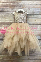 $enCountryForm.capitalKeyWord Australia - 2019 Lovely Sparkly Sequins Flower Girls Dresses Ruffles Tiered Skirts Tulle Champagne First Communion Dresses Girls Pageant Gowns Custom