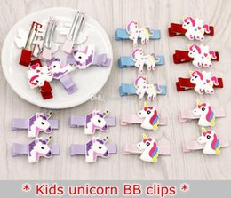 Hair clips for infants online shopping - INS New INFANT BB Glitter Unicorn Hairclips Cartoon Animal Hair Clips Cute BB Hairpins Kids Headwear Hair Accessories for Girls STYLES