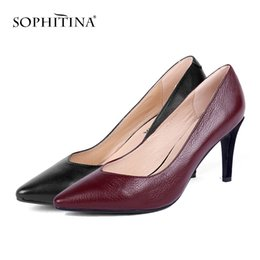 super sale shoes 2019 - SOPHITINA Sexy Pointed Toe Pumps Fashion Solid Mature Comfortable Lady Super High Thin Heel New Shoes Hot Sale Unique Pu