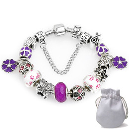 Chinese  Luxury Women Charms Bracelets Fit Pandora Lampwork Murano Glass Crystal Beads Silver Openwork Stamped Beaded Bangle Petal Pendant P144 manufacturers