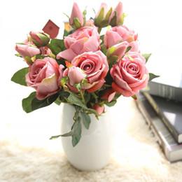 $enCountryForm.capitalKeyWord Australia - Bouquet Xmas Fake Decorative Floral Artificial Fake Roses Flannel Flower Bridal Bouquet Wedding Party Home Decor