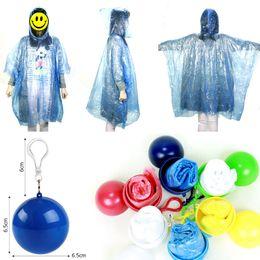 Wholesale Disposable Raincoat Plastic Ball Key Chain Disposable Raincoats Portable Case Traveling Hiking Camping Emergency Rainwear LJJA3623-13