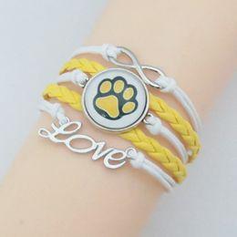 $enCountryForm.capitalKeyWord Australia - Love Paw Bracelets Loe Bear Bracelet Paw Charm Fashion White Leather With Yellow Rope Bracelet