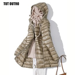 Wholesale ultra long parka for sale - Group buy 7XL Winter Woman Padded Hooded Long Jacket White Duck Down Female Overcoat Ultra Light Slim Solid Jackets Coat Portable Parkas T200107