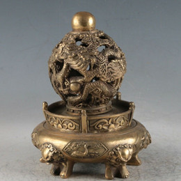 Asian Antiques Chinese Exquisite Bronze Carved Smoked Incense Burner Statue Other Asian Antiques