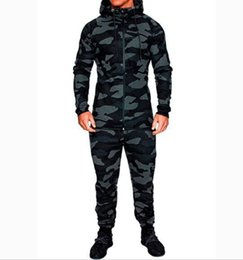camouflage jacket pants set Canada - Tracksuit Men's Hoodie Camouflage Tracksuits Outdoor Set Sportswear Sweat Suit 2018 Autumn Men Sportwear Pants Jackets
