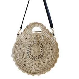 Straw Hands Bag Australia - Round Straw Bag Hand-woven Elegant Handbag Beach Shoulder Messenger Bag Totes Women's Handmade Fashion Woven Flower Bag