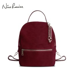 large genuine leather backpack UK - 2018 Women Genuine Suede Leather Backpack Female Casual Leisure Zipper Chains Nubuck Travel School Bag Teenager Girls Mochila Y19061102