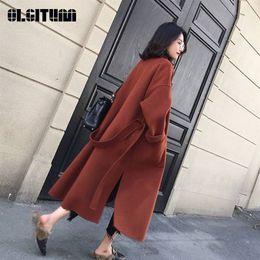 Venta al por mayor de Nuevo 2018 Abrigo de lana para mujer Espesar Manga larga Cuello medio doblado Frente abierta Parka Cinturón con cinturón T4190610