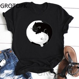 casual summer t shirt Australia - Yin Yang Cats Sleeve Printed Short Sleeve T-Shirt Harajuku Casual T Shirts Summer Fashion Tees Streetwear Tshirts