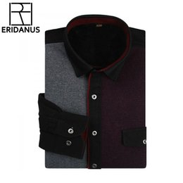 Wholesale Top Quality Men Winter Warm Shirt New Design Casual Patchwork Warm thicken long sleeved Mens dress shirts