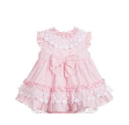 $enCountryForm.capitalKeyWord Australia - baby girl designer clothing dress Spain Style boutique Blue Lace Bow or pink Design girl dress summer girl clothes dress