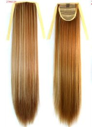 "blonde drawstring ponytails NZ - 109 Synthetic Ponytail Long Straight Hair 16"" 22"" Clip Ponytail Hair Extension Blonde Brown Ombre Hair Tail With Drawstring"
