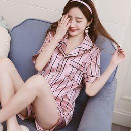 Wholesale stripe pajama for sale – plus size Stripe Floral Print Short Sleeve Top and Shorts Pyjamas Women Satin Silk Pajama Sets Cute Cartoon Sleepwear Womens Homewear T200111