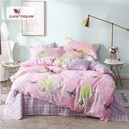 Butterfly sheet set queen size online shopping - SlowDream Pink Bedding Set Butterfly Bedspread For Adult Double Queen King Size Flat Sheet Pillowcase Duvet Bed Quilt Cover Set
