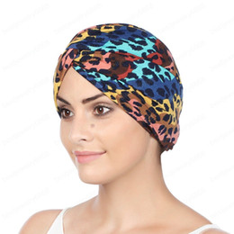 women leopard print caps wholesale Canada - New Women Leopard Print Knot Cancer Ruffle Chemo Hat Beanie scarf Turban Headwrap Knitted Cap Hair Accessories