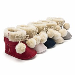 ad01941db138 Baby Girl Shoes Winter Warm Toddler Boots Cotton Soft Sole Infant First  Walkers Newborn Snow Boots Plush Balls Crib Shoes 0-18M