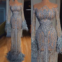 Long pink feather gown online shopping - See Through Feathers Sequined Prom Dresses Dubai Illusion Long Sleeve Robe De Soiree Luxury Mermaid Evening Gowns Special Occasion Dress