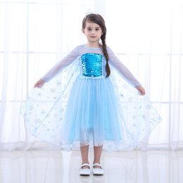 $enCountryForm.capitalKeyWord Australia - 1pcs Easter kids designer girls dresses Snow Queen Sequins Cosplay Princess Dress with Capes little girls clothing kids boutique clothes