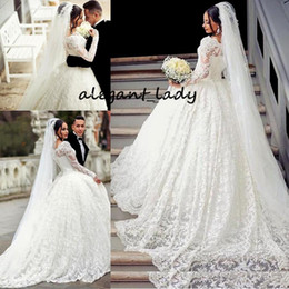 white lace short gown styles Australia - Bustle Ball Gown Lace Wedding Dresses Arabic Style Appliques Off The Shoulder Sheer Long Sleeves Wedding Gowns With Long Train Bridal Gowns