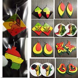 Vente en gros Grosses soldes! Mixte Styles Rasta En Bois Rouge Jaune Vert Bob Marley Boucles D'Oreilles Reggae Jamaïque Rastafari Afrique