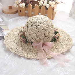 003b8d31 Summer new ladies lace wax rope butterfly festival hollow breathable  fisherman straw hat Handmade crochet Beach Straw Summer Hat