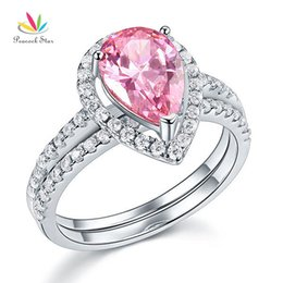 $enCountryForm.capitalKeyWord Australia - Solid Sterling 925 Silver Bridal Wedding Promise Ring Set 2 Ct Pear Fancy Pink Jewelry CFR8223 Dropshipping Service Available