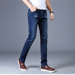 asian cotton pants Canada - Men Desogner Jeans Denim New Fashion Casual Solid Washed Long Zipper Fly Pencil Pants Cotton Blend Asian Size