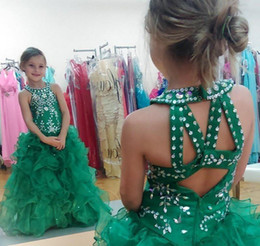 Cute Dresses Prom Color Australia - Cute Emerald Green Girls Pageant Dress Princess Puffy Skirt Children Toddler Party Prom Ball Gown Short Pretty For Little Kid