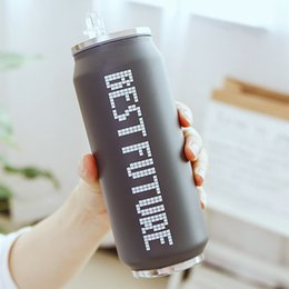 cold steel water bottle Australia - 350ml 500ml Creative Straw Thermos Mug Leak-proof Hot&cold Drink Water Bottle Cans Stainless Steel Vacuum Flask Nice Gifts