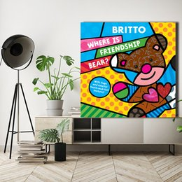 pop canvas prints Australia - Romero Friendship Bear By in Berlin Canvas Painting POP Wall Art Street Poster HD Picture Print Decorative Living Room Home Decor