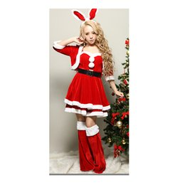 5959427b1e Newest Women Sexy Christmas Cosplay Costumes Female Red Corduroy Halloween  Party Snow Maiden Uniform for Adult Santa Dress