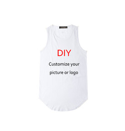 hip hop custom shirts UK - New DIY trend hip hop custom custom vest long arc hem large size casual men's t-shirt back