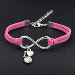 $enCountryForm.capitalKeyWord Canada - Silver Infinity Love I Heart Volleyball And Pink Leather Suede Bracelets Bangles Fashion Valentine Gift for Girlfriend Jewelry For Women Men