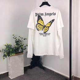 Fake animals online shopping - Palm Angels T Shirt Men Women Long Sleeve Butterfly Fake two splice High Quality Spring Autumn Fashion Palm Angels T Shirts New