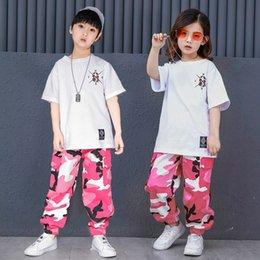 d2356df0535d Pink Camouflage Ballroom Hip Hop Dance Clothing Children Jazz Hiphop Street  Dance Costume T-shirt Pants Suit for Kids Boys Girls