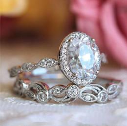 Diamond Band Set Australia - choucong Vintage Promise ring set Diamond 925 sterling silver Engagement Wedding Band Rings for women men Flower Jewelry