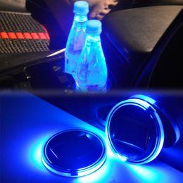 Car Lights Australia - Solar LED Car Cup Holder Mat LED Car Light Cup Holder Mat Pad Anti Slip Bottle Drinks Coaster Light Sensor Styling Blue