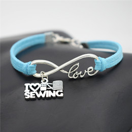 $enCountryForm.capitalKeyWord Australia - Fashion Women Men Jewelry Blue Leather Suede Bracelet Silver Color Infinity Love I Heart Sewing Machine Pendant Punk Bangle Female Male Gift