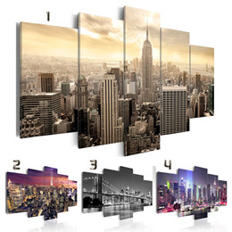 life size pictures Australia - ( No Frame ) Canvas Print Modern Fashion Wall Art the Night View of Urban Architecture for Home Decoration Choose Color & Size