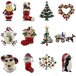 christmas brooch wholesale Australia - Christmas Rhinestone Brooch Pins Set Xmas Tree Santa Claus Sika Deer Jingle Bell Penguin Apple Wreath Family Gift Brooches B329S F