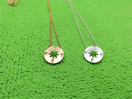 White Gold Disc Charm Australia - Gold Silver Rose gold Small Compass Necklaces Pendant Charm for Women Men South Direction Necklace Disc Circle Disk Necklaces Coin Jewelry