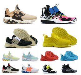 Champagne boxes online shopping - 2019 react presto mid acronym X racer men women running shoes Psychedelic Lava sneakers Witness Protection trainers Dharma with box shoe