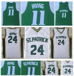 Green S Jersey Australia - Kyrie Irving 24 High School St. Patrick 11 Kyrie Irving College Basketball Jersey Stitched White Green S-2XL