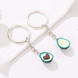 heart shaped chains for couples Australia - Soft Pottery Cute Avocado Shape Keychain For Women Girl Heart Fruit Avocado Key Chains Jewelry Best Friend Couple Gifts